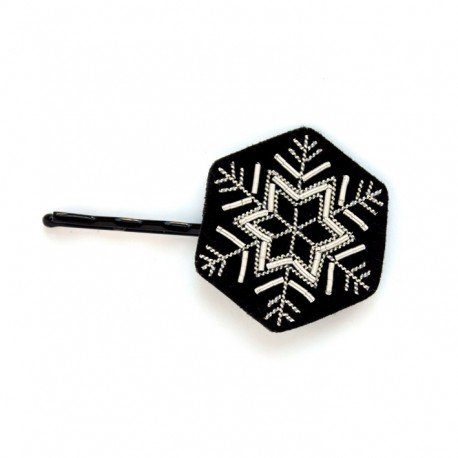 "(マコン・エ・レスコア)MACON & LESQUOY HAND-EMBROIDERED""SNALL HEXAGONAL FLAKE"" HAIRPIN ヘアピン"